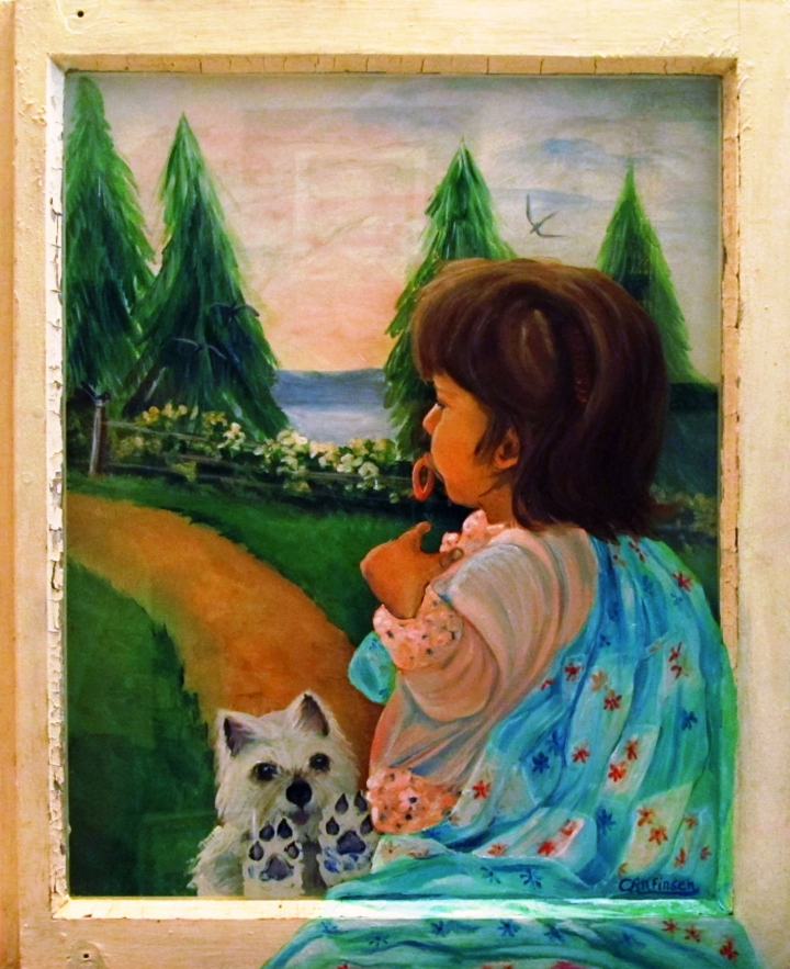 Looking Outward (16 x 20) acrylic; frame: Old Window