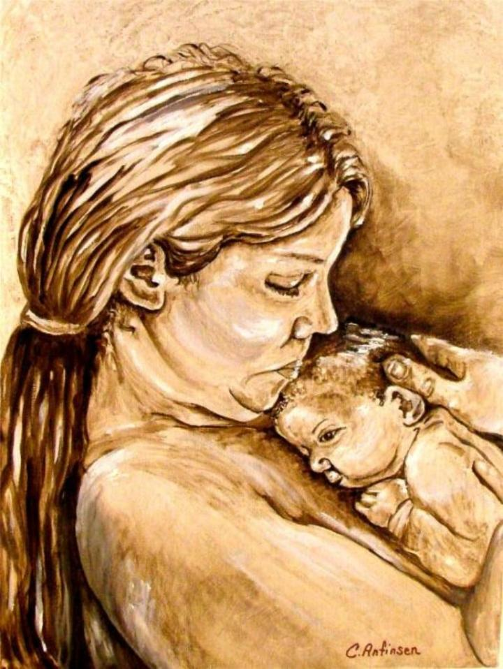 """Mother and Child"" 11 x 14 brush drawing"
