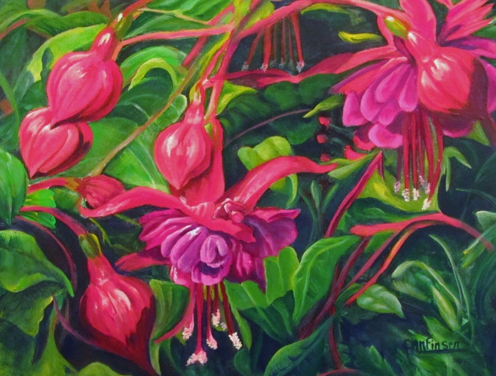 """Fuchsia Fantastic"" 18 x 14 acrylic on canvas"