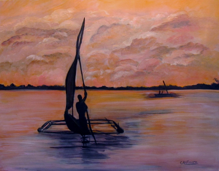 """Sunset on the Nile? acrylic on canvas"
