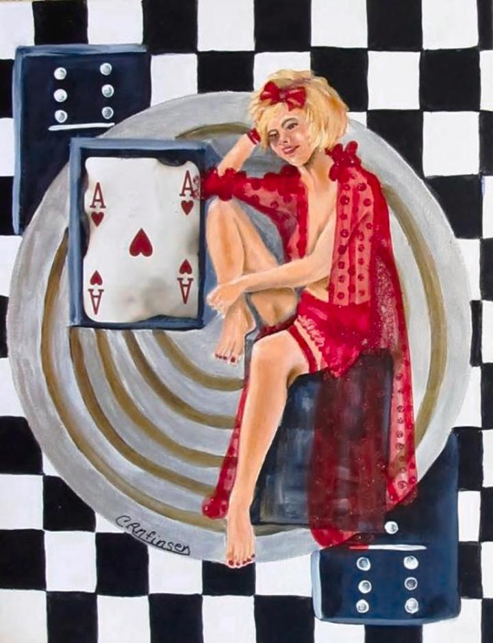 """Lady Luck"" 11 x 14 in box frame"