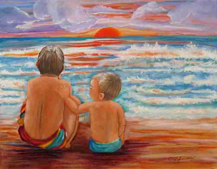 """Beach Buddies"" acrylic on canvas"