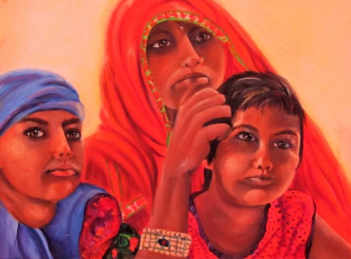#hopeful in India, 24 x 18 acrylic on canvas